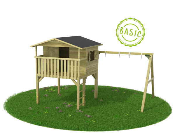 BASIC Stelzenhaus mit Schaukelanbau Gartenmonster Leonie 145