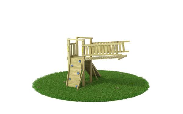 """Anbaukletterturm mit Brücke Gartenmonster """"Cruzar"""" für Stelzenhäuser"""