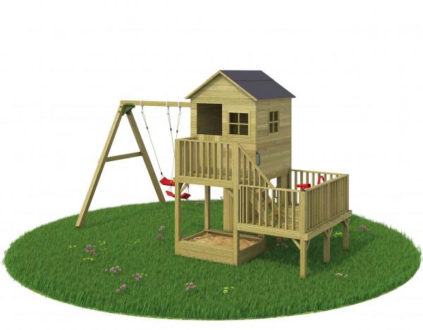 Spielhaus Gartenmonster Balu mit Anbauschaukel Tambaleo
